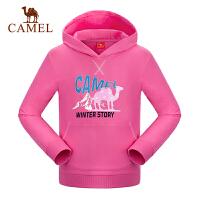 camel骆驼童装冬季女童微弹加厚带帽卫衣儿童休闲保暖上衣