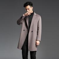 ??2018秋冬新款毛呢大衣男中长款羊毛呢子风衣修身无羊绒双面呢外套