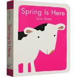 Spring Is Here 英文原版绘本纸板书 小牛的春天 五味太郎 Taro Gomi 幼儿入门启蒙趣味绘本
