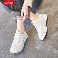 Galendar女子板鞋2018春夏新款轻便简约系带小白鞋学生平底休闲板鞋JJ825
