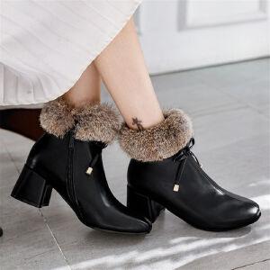 O'SHELL欧希尔新品038-5041韩版粗跟中高跟女士兔毛短靴