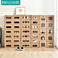 百露牛皮纸鞋盒收纳盒透明抽屉式盒子宿舍鞋柜整理箱