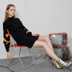 熙世界黑色半高领连衣裙2018秋装新款灯笼袖中长款毛衣裙117SL051