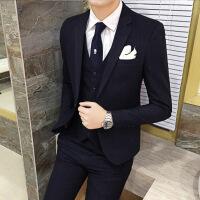 男秋冬外套秋冬新款 韩版修身竖条纹男士西装套装 新郎结婚发型师西服三件套