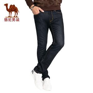 骆驼男装 秋季新款直 筒水洗男士牛仔裤时尚中腰长裤