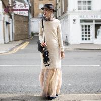 生活在左2018新款秋装女复古针织长袖羊绒收腰过膝连衣裙修身长裙