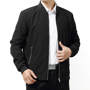 【 品质面料 穿着舒适】男士秋装加肥加大胖子中青年商务休闲特大码棒球领夹克宽松肥佬装