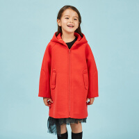 【6折价:227.4元】马拉丁童装女童红色大衣春装新款中长款洋气连帽儿童外套女