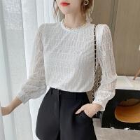 蕾丝衫女长袖秋季时尚百搭白色仙气遮肚子洋气小衫气质打底衫上衣
