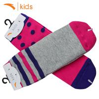 安踏儿童袜子学生中筒袜2017冬季新款吸汗保暖袜子女童运动棉袜