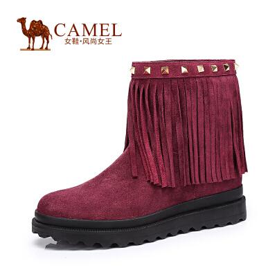 Camel/骆驼女鞋 时尚保暖 二层牛猄圆头中跟套脚流苏女靴新款