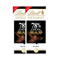 Lindt瑞士莲进口特醇排装78%可可黑巧克力100g*2块装(临期清仓特卖)保质期至19年5月
