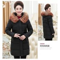 中老年女装冬装棉衣妈妈外套中长款40岁50羽绒中年人保暖加厚棉袄 黑色 毛领可拆卸