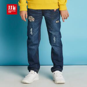 jjlkids季季乐男童牛仔裤中大童春秋款松紧裤休闲牛仔裤7-9岁童装BQK61179