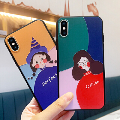 iphone7plus手机壳全包日韩iphone xr保护套xs防摔xs max潮牌6卡通6s可爱8p新款浮雕美术生的壳8个性创意女款