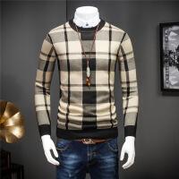 新款男士线衫秋冬羊毛衫 男士百搭修身打底衫毛衣格纹 卡其色