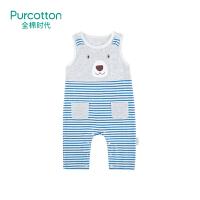 全棉时代新初生婴儿儿衣服连体纯棉针织宝宝春装无袖哈衣爬服