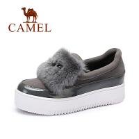 Camel/骆驼女鞋兔毛大眼图案舒适休闲厚底小增高单鞋