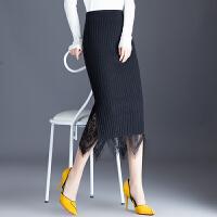 2017秋冬新款针织包臀裙半身裙女高腰显瘦双面穿蕾丝中长款一步裙