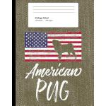 预订 American Pug: Green Denim Look Composition Journal Noteb