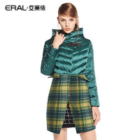 ERAL/艾莱依冬新款修身毛呢拼接大衣长袖中长款羽绒服女6032C