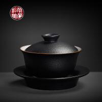 粗陶盖碗茶杯复古三泡台功夫茶具家用泡茶大号三才杯黑陶干泡茶碗