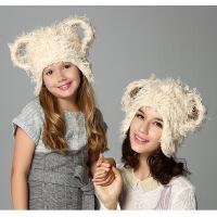 kenmont儿童帽韩国宝宝保暖加绒护耳帽 儿童帽子可爱毛毛帽1496
