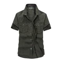 夏装新款战地吉普AFS JEEP纯棉尖领短袖衬衫 661男士工装半袖衬衣