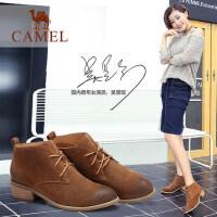 camel骆驼短靴 新款 欧美简约系带时尚方跟女靴时装靴