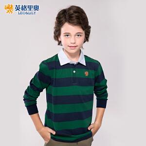 长袖T恤男童体恤儿童条纹翻领打底POLO衫