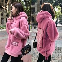 韩国粉色毛绒连帽卫衣女秋冬宽松学生大码中长款加绒加厚毛毛外套