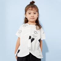 【2件2.5折:59元】商场同款马拉丁童装女童衬衫夏款新款短袖衬衫