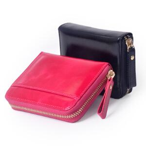 Yvonge韵歌水晶牛皮零钱包油蜡真皮硬币包钱包男女款卡包手拿包手包