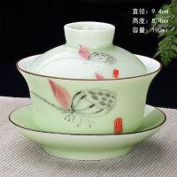 三才杯泡茶器敬茶碗手抓壶青花瓷盖碗茶杯大号茶备陶瓷功夫茶具