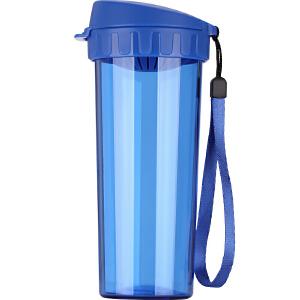 特百惠水杯500ml 茶韵随手杯便携塑料杯子运动水壶学生儿童杯茶杯 纯净蓝