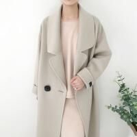 新女大衣双面羊绒大衣女新款同款毛呢羊毛中长款显瘦宽松纯色格子外套