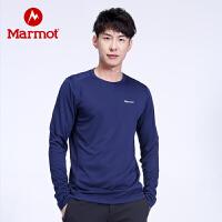 【开学季】Marmot/土拨鼠户外运动男士休闲衬衣速干圆领长袖T恤