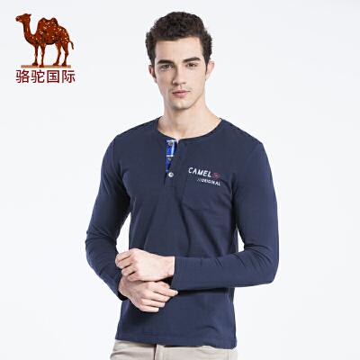骆驼男装 新款时尚舒适日常休闲棉质门筒领长袖T恤衫男