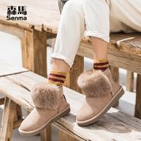 森马雪地靴女短筒短靴女秋冬2018新款棉鞋加绒保暖英伦百搭学生鞋