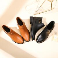 【抗寒保暖防滑鞋底】新款冬靴舒适低跟橡胶底粗跟短绒时