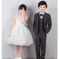 百搭儿童西装韩版男童西服花童礼服套装小童钢琴演出服走秀表演服装男