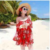 新款沙滩裙短裙尼外套连衣裙海边大裙摆宽松吊带长袖雪纺比基 可礼品卡支付