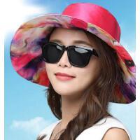 大沿遮阳帽防紫外线防晒太阳帽女可折叠海边沙滩帽凉帽 帽子女 支持礼品卡