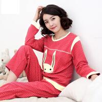 雪俐春秋季女士睡衣卡通兔睡衣家居服长袖针织套装