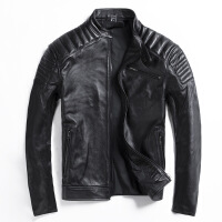 头层牛皮真皮皮衣男修身显瘦立领皮夹克大码男装摩托车服皮外套潮M-L-Z-5 图片色黑色