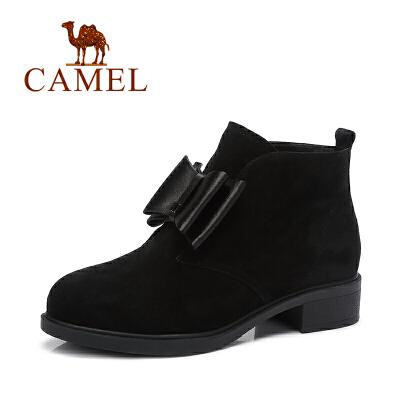 Camel/骆驼短靴复古甜美蝴蝶结磨砂 女靴低跟短靴秋季焕新 全场满59元包邮