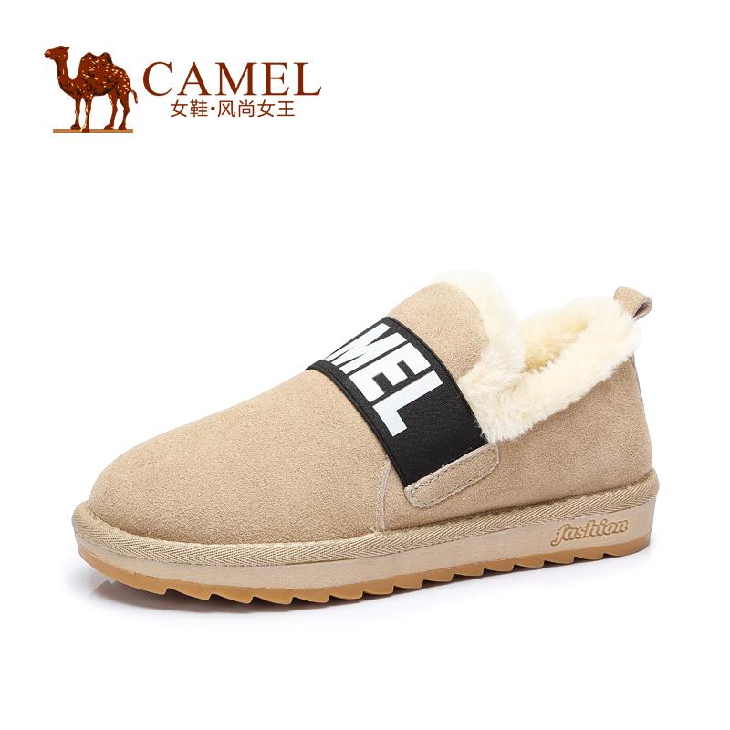 Camel骆驼短靴 平底女靴绒里女鞋圆头平跟新款雪地靴秋季焕新 全场满59元包邮