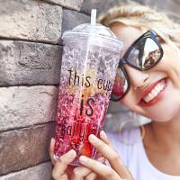 塑料水杯便携杯子碎冰杯韩版学生少女心可爱带吸管杯