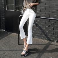 牛仔裤 女士春季休闲弹力喇叭裤韩版女式学生阔腿九分裤子.