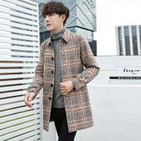 秋季男士羊毛呢大衣男中长款格子风衣韩版潮流妮子外套男修身冬装